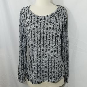 East 5th Grey and Black Long Sleeve Blouse